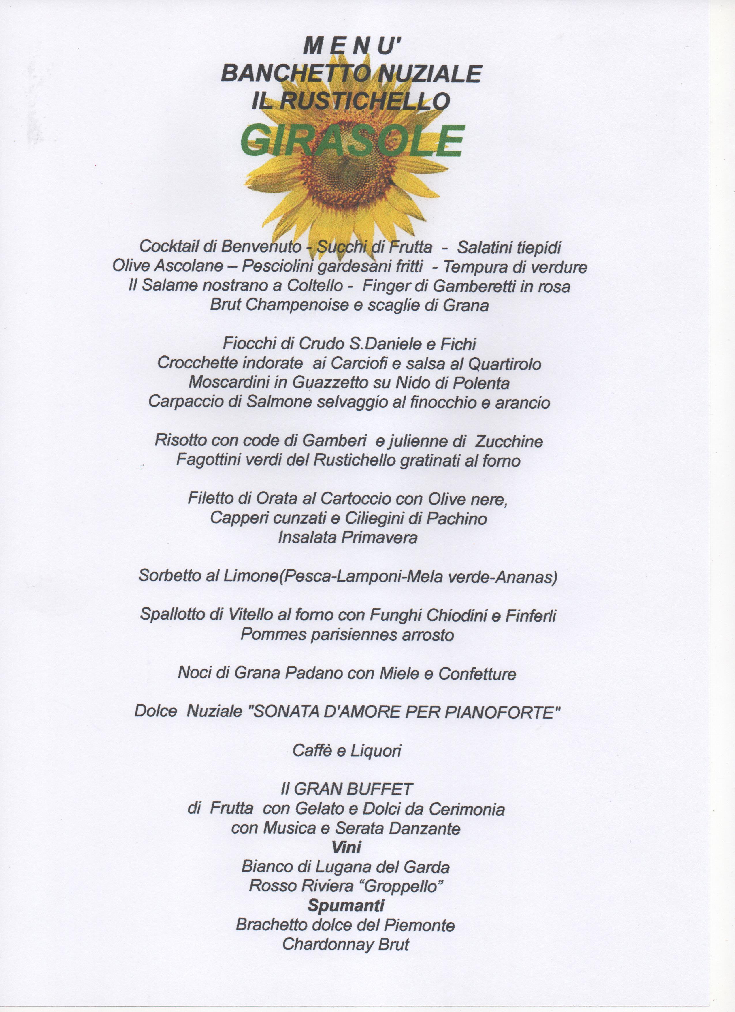 Molto menu speciali per le nozze BP42