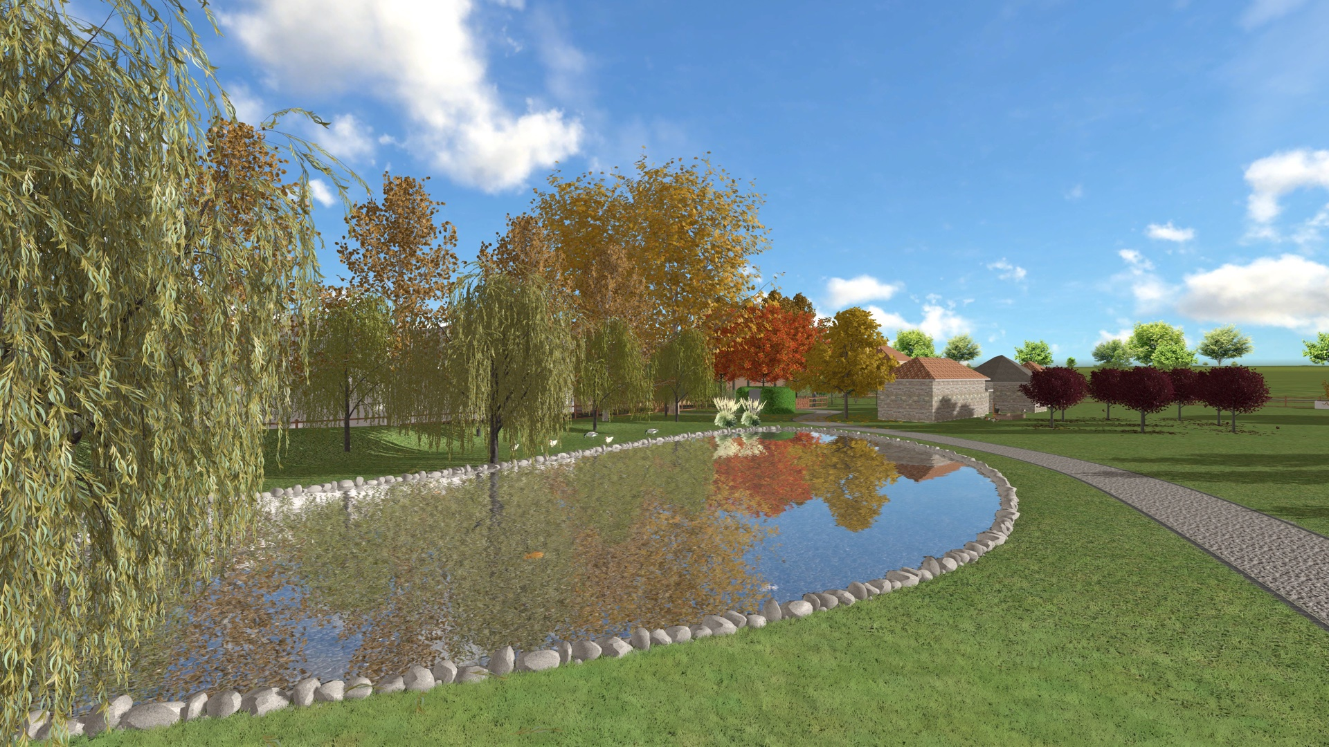 Parco aziendale – rendering autunnale